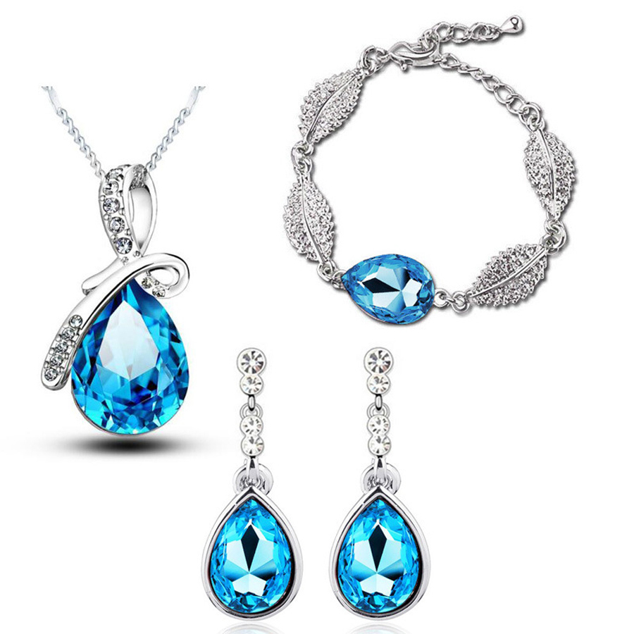 Necklace Chandelier-Earrings Wedding-Jewelry-Sets Austrian Bracelets Pendant Crystal