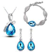 Австрийский Кристалл ювелирные изделия капли акации листья кулон Свадебные Ювелирные наборы(модное ожерелье+ люстра серьги+ браслеты
