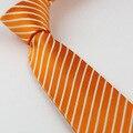 Juego de los hombres lazos Nuevo Diseño Naranja Con Blanco A Rayas Diagonales Corbata Flaca Tie 7 cm camisas de vestir Corbata de Boda Gravatas