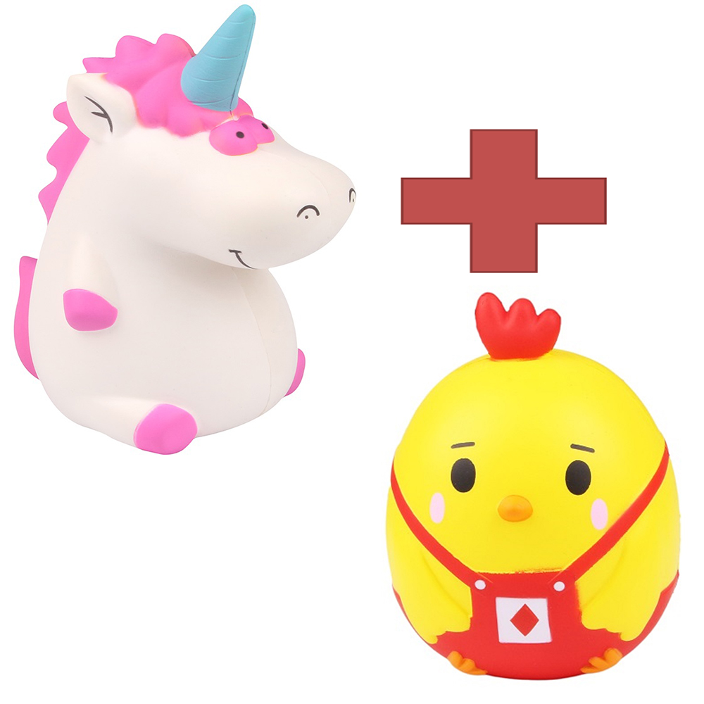 2 in 1 Kawaii Squishy Trump Chicken & Unicorn Slow Rising Squishies Reduce Pressure Stress Relief Kid Squeeze Toy Chritmas Gift