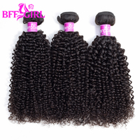BFF GIRL Indian Hair Kinky Curly Hair Bundles 100% Human Hair Weave 3/4 Bundles 10 26 Inches Natural Color Remy Hair Extensions