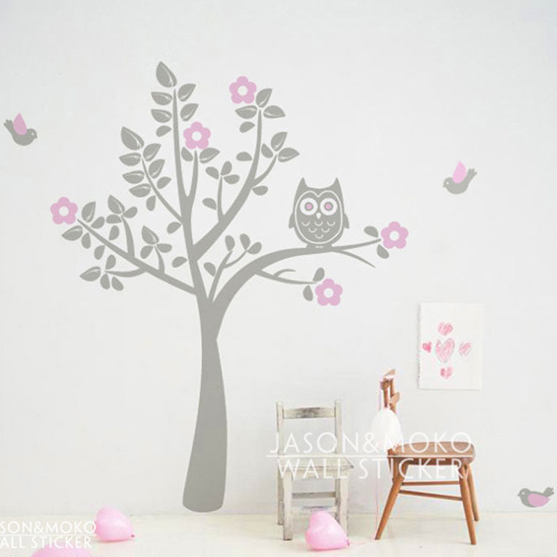 Cartoon Owl Tree Bird Animal Flowers Wall Sticker Decal Mural Wallpaper Nursery Children Baby Room Modern 180180cm Home Decor In Stickers From