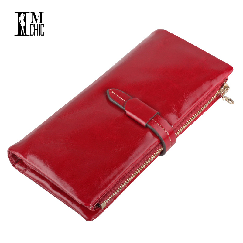 Long Design Genuine Leather Women's Purse Vintage Female Clutch Women Wallets New Zipper Organizer Wallet Carteira