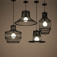 Retro Iron Art Pendant Light Industrial Wind Style Hanglamp Kitchen Restaurant Corridor Bar Cafe Black Bamboo Lamps