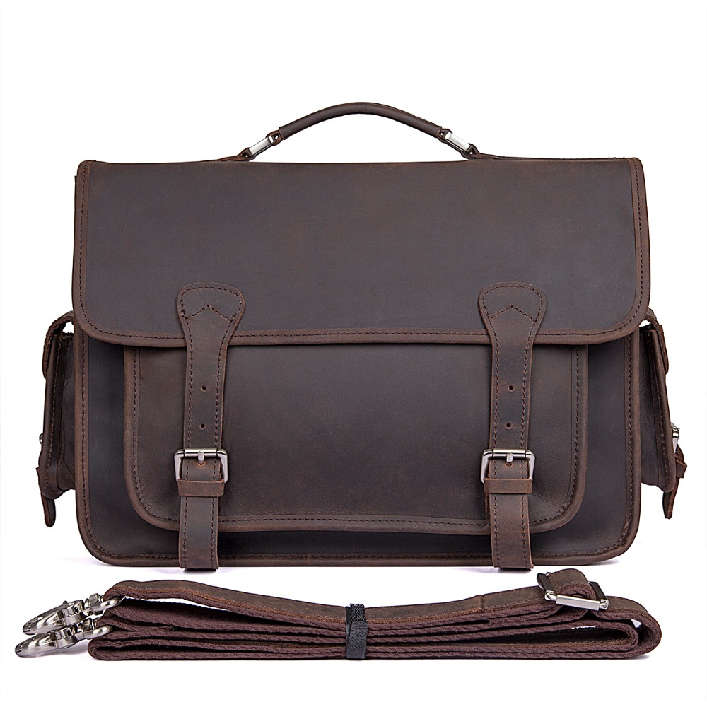 J.M.D J.M.D Rare Crazy Horse Leather Bag Vintage Style School Bag Casual Messenger Bag Cross Body Bag 7374R