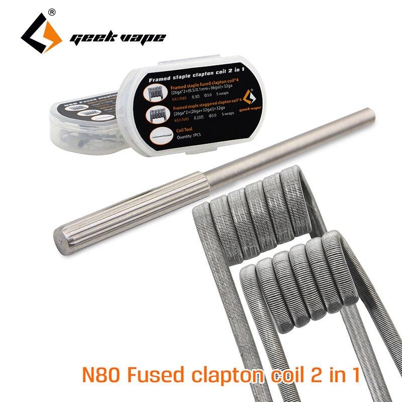 Originale 8 pz GeekVape N80 Fuso Bobina Clapton 2 In 1 per RDA/RTA/RDTA FAI DA TE Serbatoio Atomizzatore E-Sigaretta con un SS bobina strumento