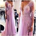 Очаровательная 2016 модест светло-фиолетовый аппликации кружева бисероплетение платья невесты шифон Vestido лонго полный рукав платья S7030401