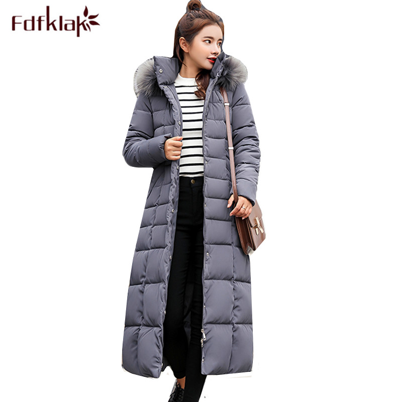 Fdfklak High-grade new down jacket women winter coat hooded thick female jacket fur collar warm long women's coats   parkas   M-3XL