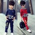 2016 novos conjuntos de roupas Meninos primavera outono Bebê Conjuntos de fatos de treino de algodão menino Crianças Dos ternos do esporte dos desenhos animados coats/camisolas + calças