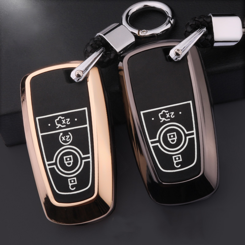 Luminous Leather Car Styling Key Cover Case for Ford Fusion Mondeo Mustang Edge Expedition EXplorer 2017 2018 smart key case-in Key Case for Car from Automobiles & Motorcycles