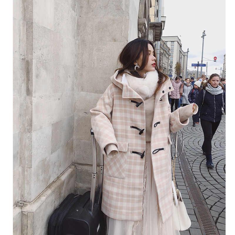 MISHOW 2019 herfst winter plaid wollen jas nieuwe mode causale vrouwen hoorn botton met hoed lange jas MX18D9673