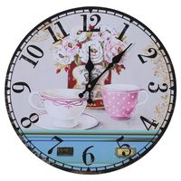 빈티지 골동품 스타일 34cm 벽시계 홈 침실 레트로 주방 석영 (패턴: 꽃 + 컵)