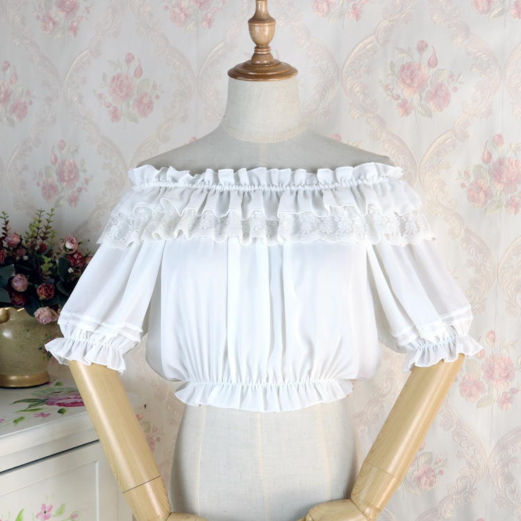 Hot Sale Mini Shirts 2018 Summer Girls White/Black Sweet Lace Short Shirts Sexy Ladies Slash neck Lolita Blouse Costumes