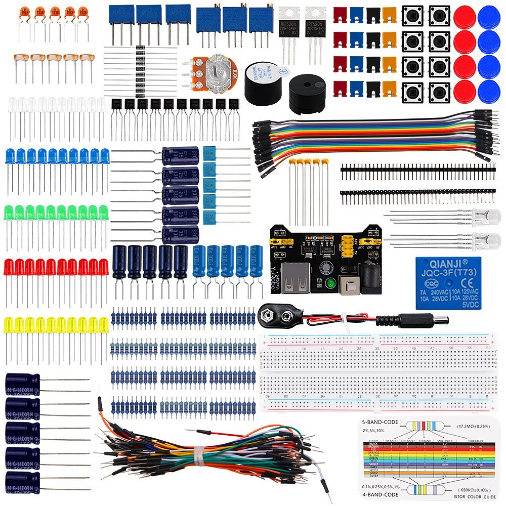 Keywish Diy Electronics Basic Starter Kit Breadboard,Jumper wires,Resistors,Buzzer