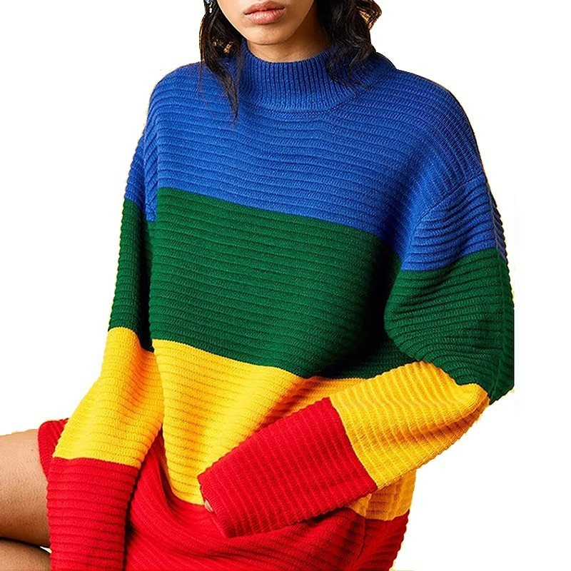 2019 Autumn Winter Loose Sweater Female Rainbow Pullover Knitwear Wide Stripe Full Sleeve High Collar Knitting Jumpers Vestidos