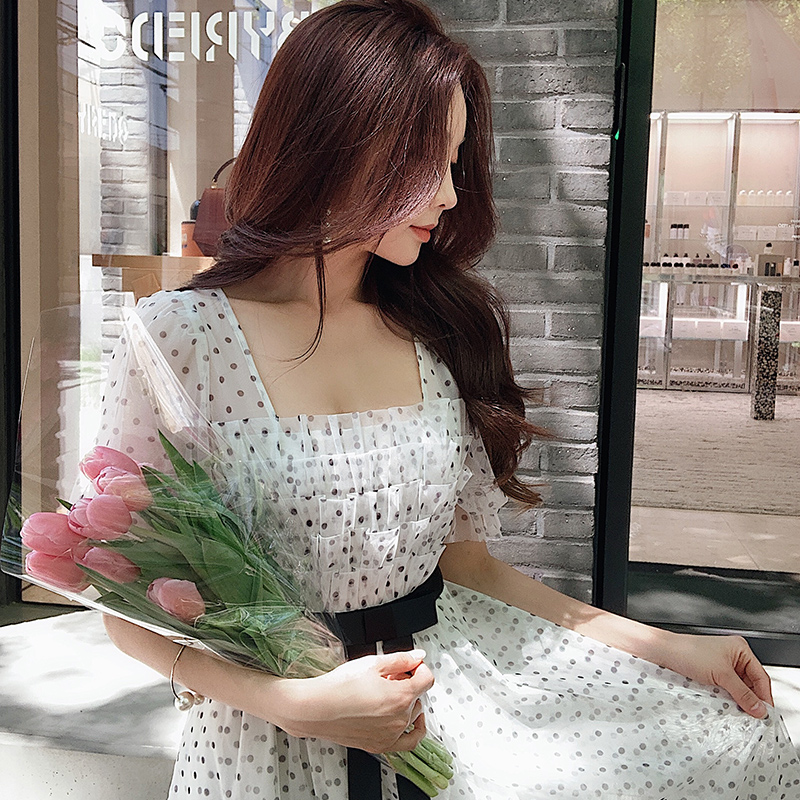 Kadın Giyim'ten Elbiseler'de Dabuwawa kadın Retro tatlı polka Dot Fariry Midi elbise 2019 yeni yaz zarif parti kalma elbise DN1BDR127'da  Grup 1
