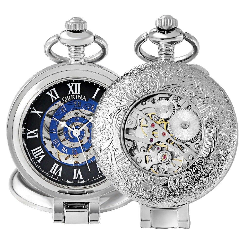 silver mechanical pocket watch