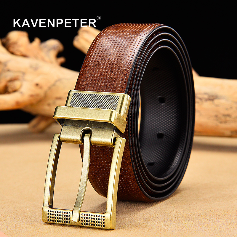 Men's Reversible Leather Belt Classic Cow Genuine Leather Luxury Strap Male Belts For Men With Rotated Buckle Dropshipping