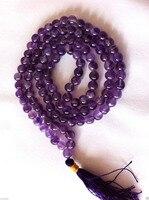 FREE Shipping Amethyst Crystal Mala Prayer Beads Buddhist 10mm S