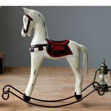 JAYQUERING New White Horse Old Vintage Home Decor Wood Tumbler Creative Nordic Decoration Desktop ZL5541
