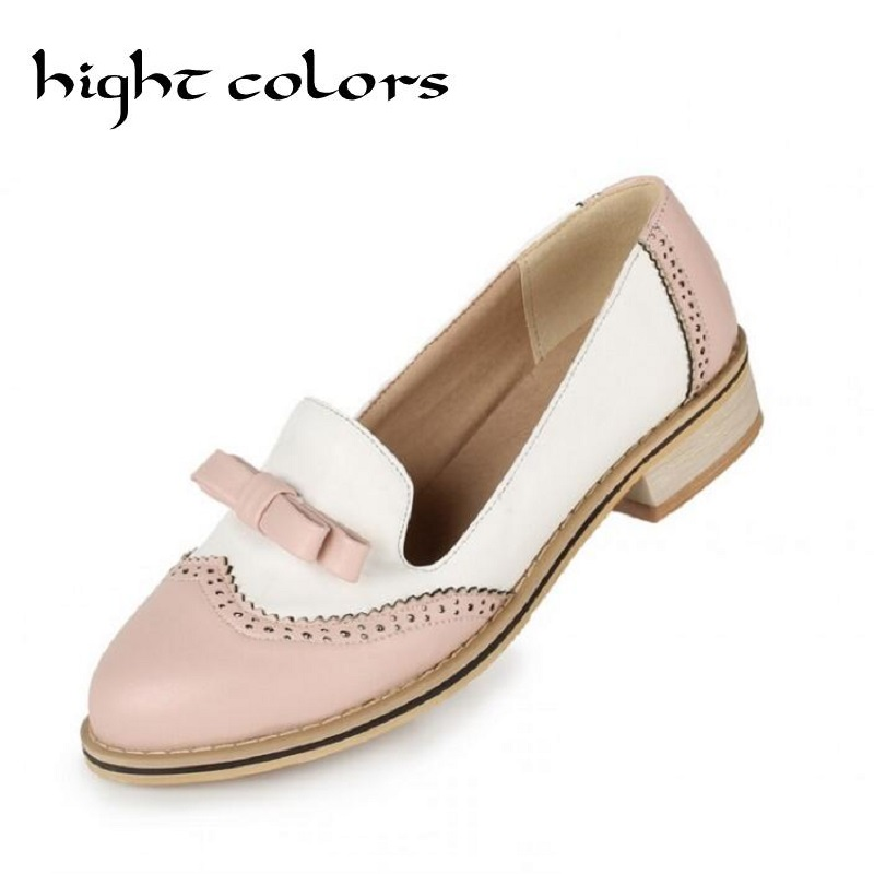 Sweet Bow Patchwork Women Slip-on Casual Flat Oxford Shoes Fashion Girls Flat Shoes Round Toe Loafers Shoes Women Size 34-43 new round toe slip on women loafers fashion bow patent leather women flat shoes ladies casual flats big size 34 43 women oxfords