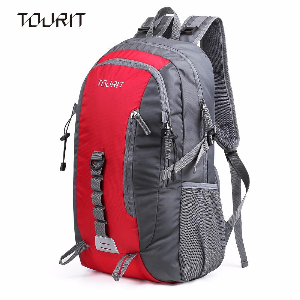 TOURIT Waterproof Backpack Large Capacity Travel Lightweight Daypack Foldable Bag 35L Red,Black venum origins bag xtra large black red