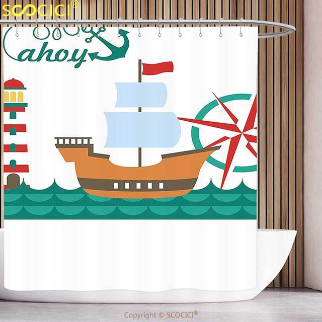 Stylish Shower Curtain Ahoy Its A Boy Sail Boat On Sea Waves Lighthouse And Compass Anchor Icons Celebration Teal Brown Red