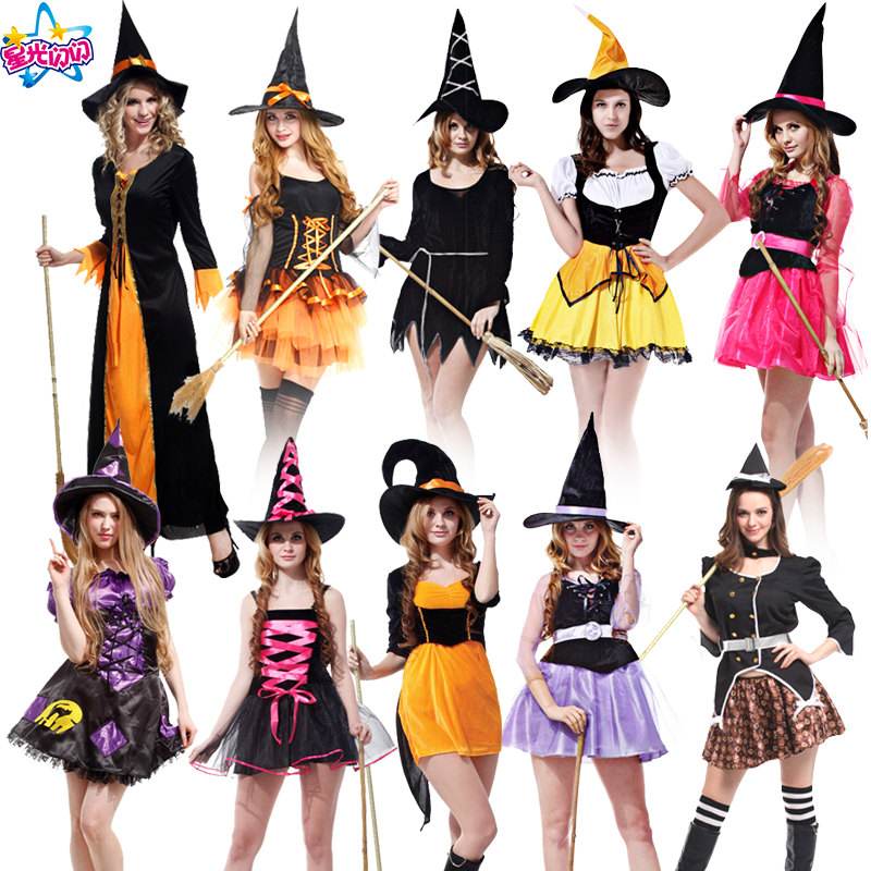 Gratis frakt Fashion Halloween Kostyme Voksen Kvinner Sexy Plus Størrelse Witch Cosplay Party Dress Kostymer Klær