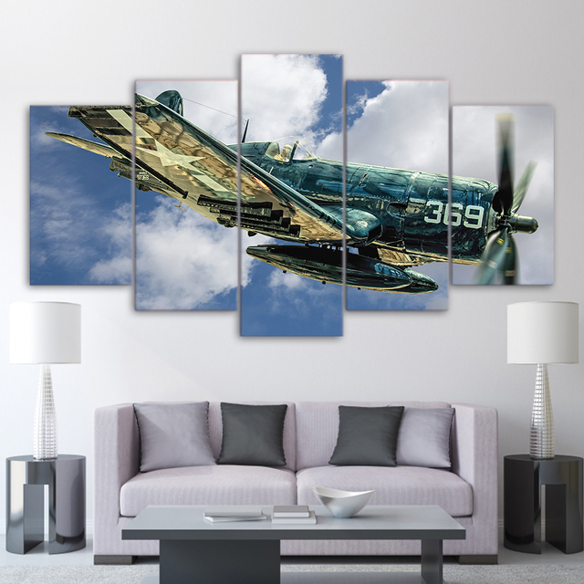 HD Printed Vintage Aircraft 5 pcs. Modular Canvas