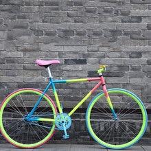 Engranaje fijo bicicleta 26 pulgadas bicicleta de carretera de una sola velocidad colorido bicicleta Vintage marco hombre y mujer estudiante