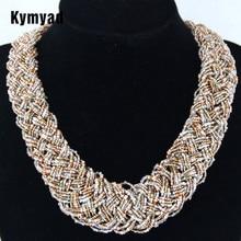 цена Kymyad Bohemian Choker Necklace Women Boho Jewelry Strand Multi Layers Beads Statement Necklaces Big Ethnic Jewelry Collares