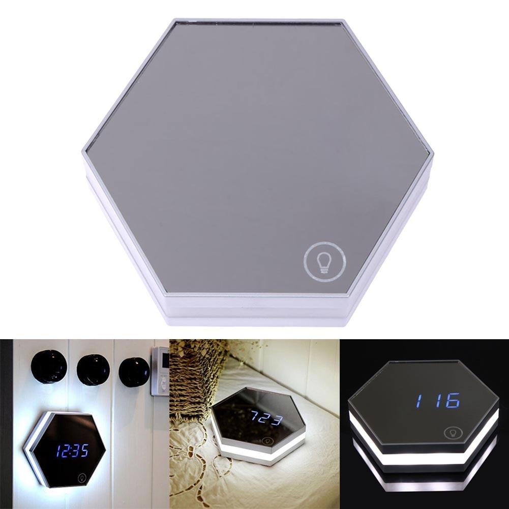 Multifunction LED Night Light Wall Clock Mirror Digital Display Alarm Clock Snooze Light-emitting Thermometer Makeup Touch Light