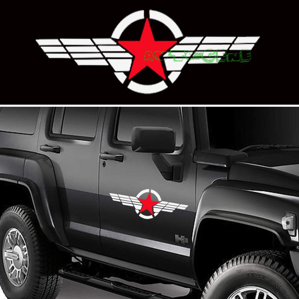 Car stickers design philippines - 2pcs 50cm Cool Jdm Military Symbol Red Star White Stripe Vinyl Car Sticker Decal China
