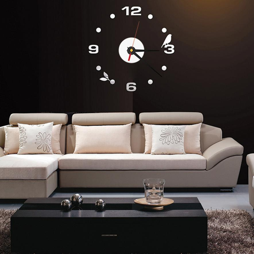 High quality DIY Large Wall Clock Home Office Room Decor 3D Mirror ...
