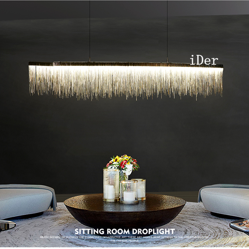 Postmodern Designer Pendant Lights Nordic Tassel Restaurant Luxury Hotel Engineering Chain Living Room Art Hanging