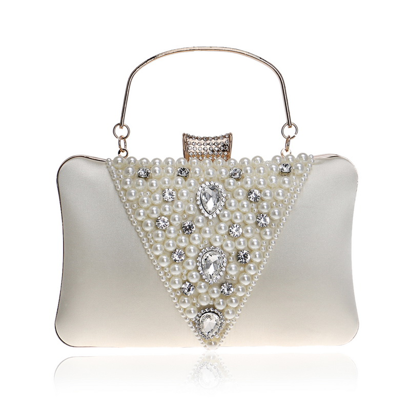 Vintage Style Embroidery Beaded Women Evening Bags Diamonds Metal V Design Pearl Day Clutch Purse Bags For Female Purse
