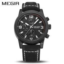 Megir chronogragph marca de luxo quartzo relógios masculinos moda couro relógio do esporte masculino luminoso exército militar relógios pulso