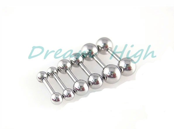 316L Stainless Steel Small Earring Stud Cool Earring Barbell For Girl 1.2mm Mixed Size Straight Eyebrow Ring 16G Silver Ear Stud