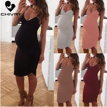 Chivry 2019 New Maternity Dresses Pregnancy Clothes Dress Women Casual Summer Sleeveless V-neck Knee-Length Pregnant Vestidos