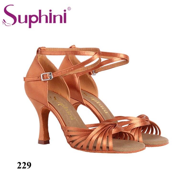 Livraison gratuite Suphini chaussures de danse femme professionnelle semelle souple bronzage profond chaussures de danse latine