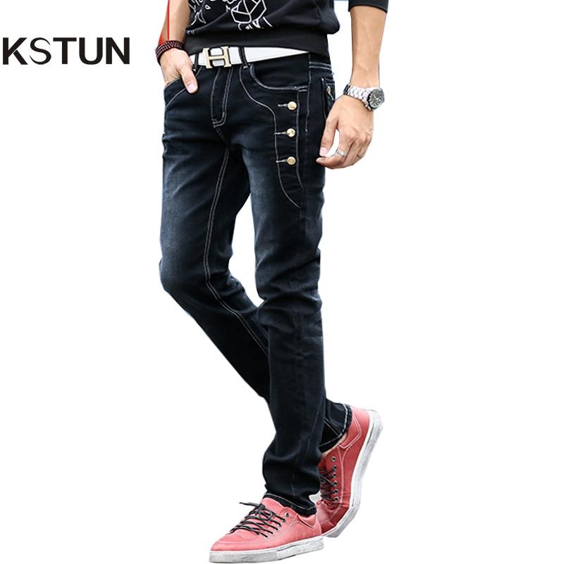 KSTUN Men Jeans Buttons Designer Jeans Black Blue Grey Skinny Slim Fit Stretch Denim Pants Pockets Rivets Boys Students Cowboys havaianas urban jeans grey black