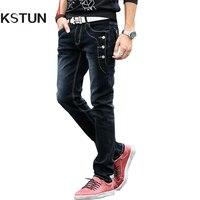 KSTUN Uomini Bottoni Jeans Jeans Firmati Nero Blu Grigio Skinny Slim Fit Stretch Denim Pantaloni Tasche Rivetti Ragazzi Studenti Cowboys