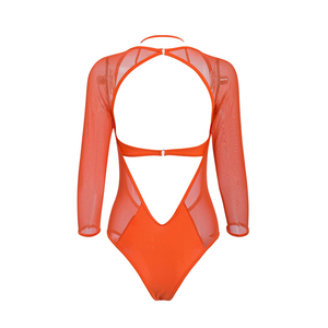 Image 5 - Plus size bikinis 2019 Mujer Mesh monokini V neck one piece swimsuit female Long sleeve bodysuits High cut swimwear women Halter