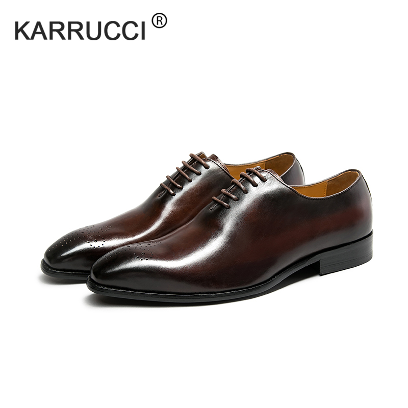 KARRUCCI Brand Classic Genuine Leather Men Whole Cut Plain Oxford Lace Up Wedding Party Man Brown Dress Shoes Brogue Carved
