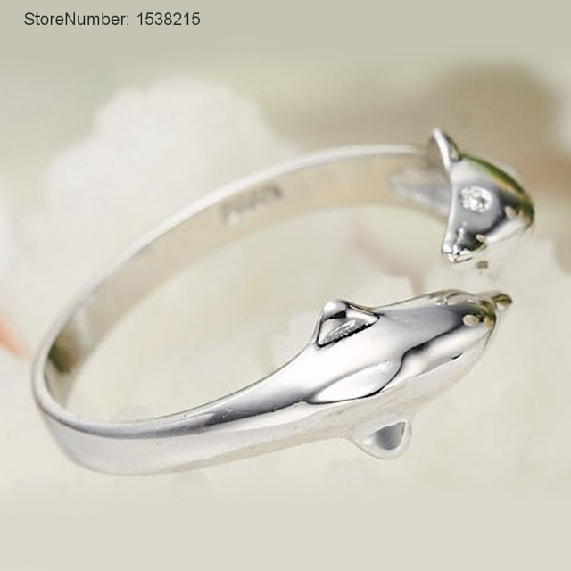 sterling silver jewelry double dolphin rings for female male wedding rings top designer jewelry rings women rings - Dolphin Wedding Rings