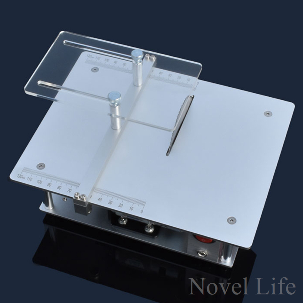 Mini Hobby Table Saw Handmade Woodworking Bench Saw DIY Model Cutting Saw with Power Adapter 4500RPM Adjustable Speed