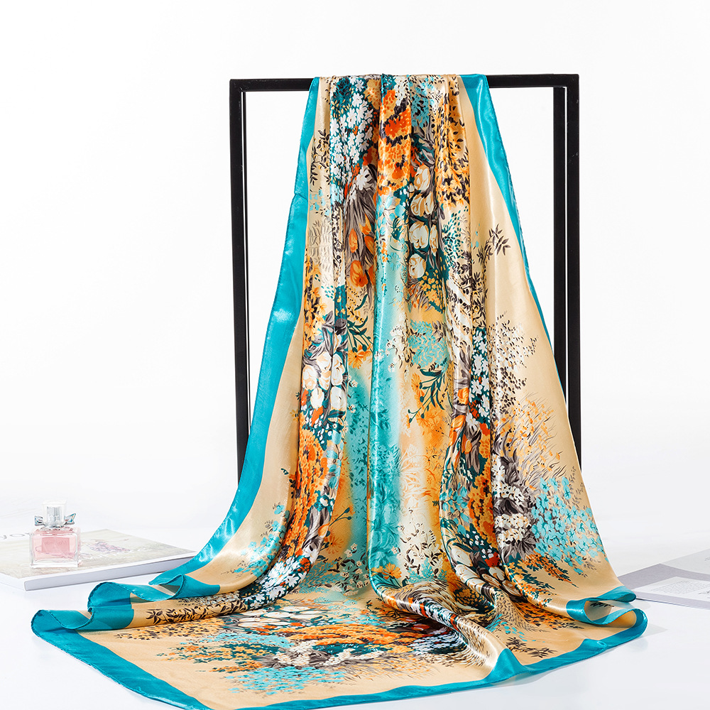 Spring Sunflowers Square   Scarves   Headscarf For Ladies Van Gogh Brand Oil Painting Silk   Scarf   Shawl 90*90cm Satin   Scarf