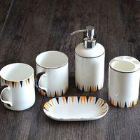 Творческий Геометрия рисунок стирка комплект керамическая Ванна пять штук набор костяного фарфора чашка + держатель зубной щетки + Лосьон б