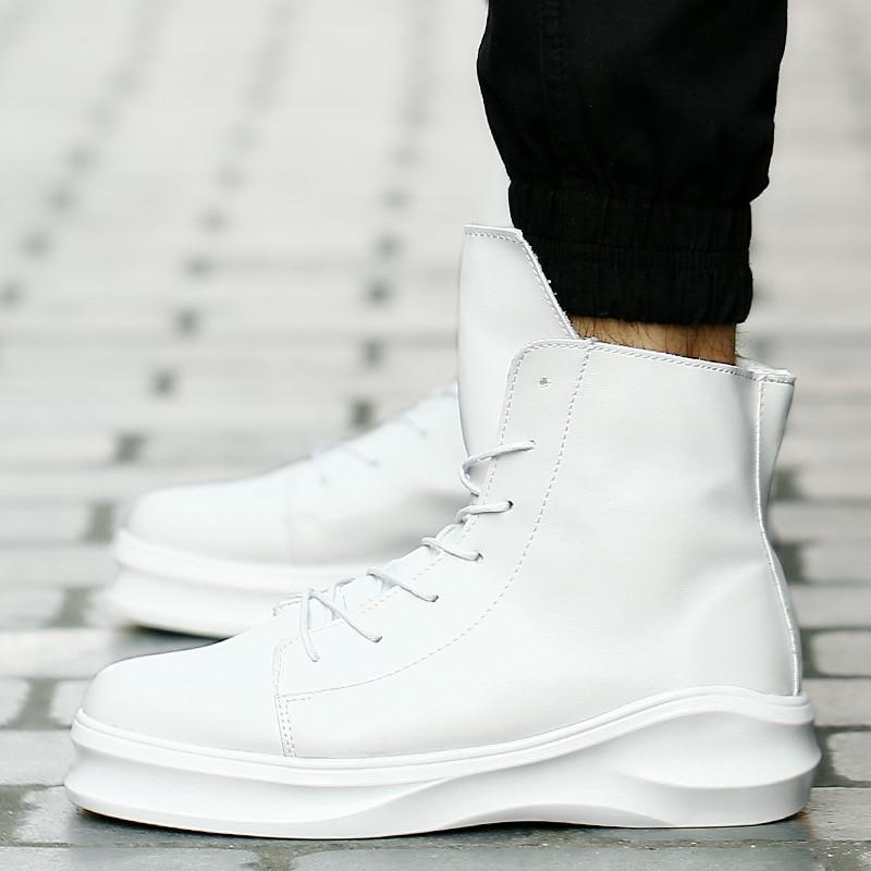 Robe Hip Bottes black Top Hiver Danse Automne Mode Plate Chaussures Lacent Martin High Sneakers De Hommes forme blanc White Noir Militaires Hop And qHzCqr