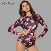 AONIHUA 2018 New Waist Hollow One Piece Swimsuits Women Printed Floral Push up Swimwear female Long sleeve swimming Suit 9001